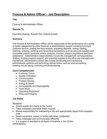The postholder plays a ke - Job description for administrative officer ...