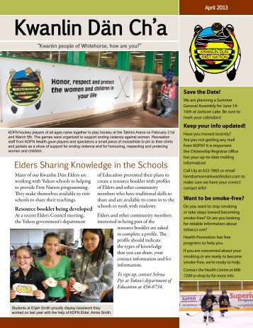 April 2013 - Kwanlin Dün First Nations