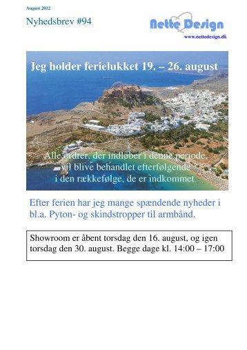 Jeg holder ferielukket 19. – 26. august - Nette Design