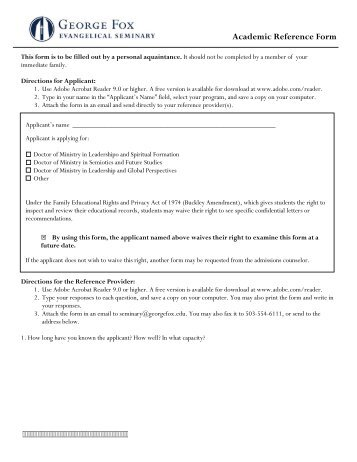 Academic or Personal Reference Form Adult Degree Program