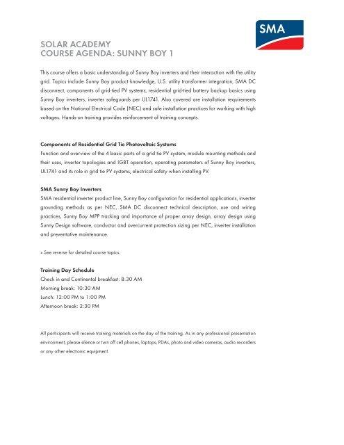 Sensational Solar Academy Course Agenda Sunny Boy 1 Sma America Wiring 101 Relewellnesstrialsorg