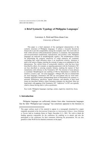 A Brief Syntactic Typology of Philippine Languages - Academia Sinica