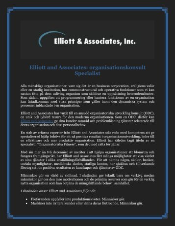 Elliott and Associates: organisationskonsult Specialist