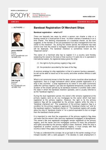 Bareboat Registration Of Merchant Ships - Singapore Law Watch