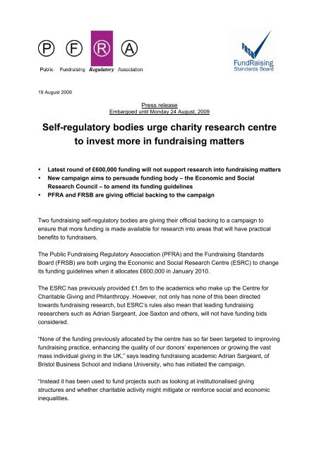 Press release - PFRA and FRSB call for more funding for fundraising