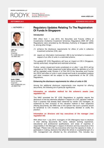 Securities and Futures Regulations - Singapore Law Watch