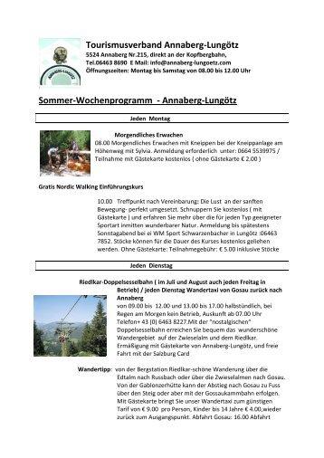 Tourismusverband Annaberg-Lungötz Sommer-Wochenprogramm ...