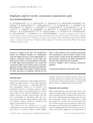 Implants and⁄or teeth: consensus statements and recommendations