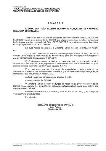 APELAÇÃO CRIMINAL Nº 2007.38.00.003767-2/MG R E L A T Ó ...