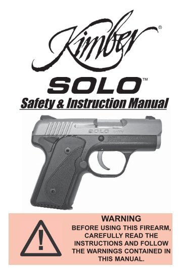 model 8400 bolt action sport rifles owners manual kimber rh yumpu com Kimber 1911 45 Kimber Micro