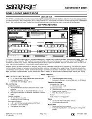 Specification Sheet DFR22 AUDIO PROCESSOR - AVsuperstore.com