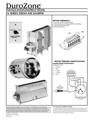 wiring multiple dampers installation instructions duro dyne durozone duro dyne