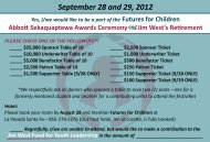 September 28 and 29, 2012 - Futures for Children
