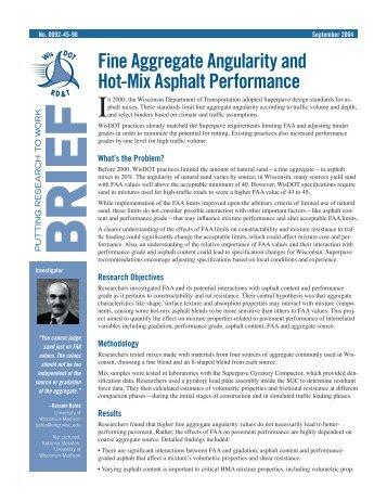 Fine Aggregate Angularity and Hot-Mix Asphalt Performance ...