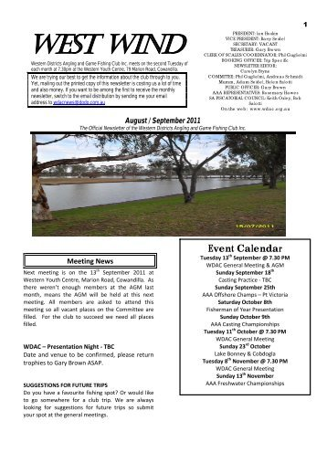 Westwind August/September 2011 - Western Districts Angling Club