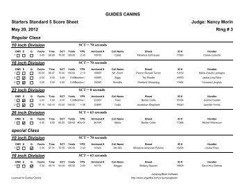 Starters Standard 5 Score Sheet Judge: Nancy ... - Guides Canins
