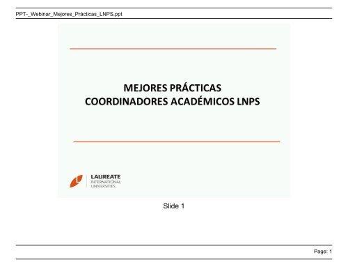 Page: 1 PPT-_Webinar_Mejores_Prácticas_LNPS.ppt - My Laureate