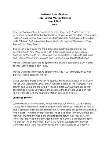 June 4, 2012 - Delaware Tribe of Indians