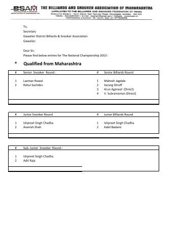 Entries Received - The Billiards and Snooker Association of ...