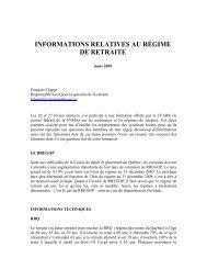 INFORMATIONS RELATIVES AU RÉGIME DE RETRAITE