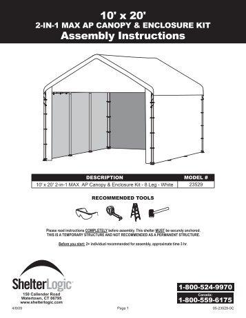 Shelterlogic Canopy Instructions & Shelter Logic 10x10 Sc ...