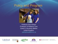 Policy and Program - Quality Palliative Care in Long Term Care