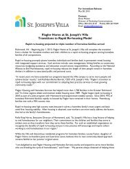 Flagler Home Transitions to Rapid Re-Housing ... - St. Josephs Villa