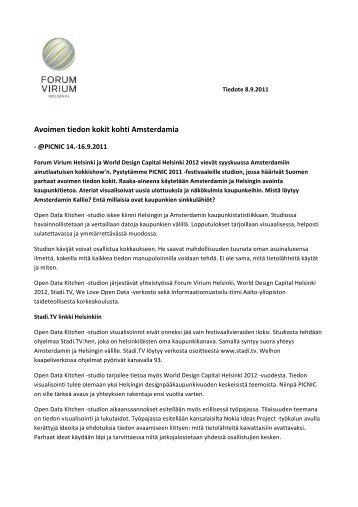 Avoimen tiedon kokit kohti Amsterdamia - Forum Virium Helsinki
