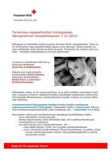 Tervetuloa vapaaehtoisten kiitosgaalaan Hämeenlinnan ... - RedNet