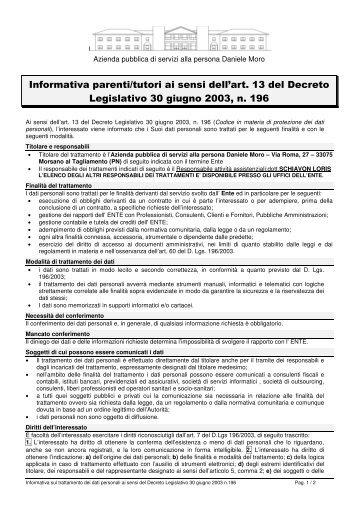 Informativa privacy Parenti/Tutori - Azienda pubblica di servizi alla ...