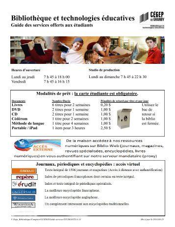 Guide des services offerts aux étudiants
