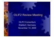 OLIF2 Consortium Walldorf, Germany November 14, 2000