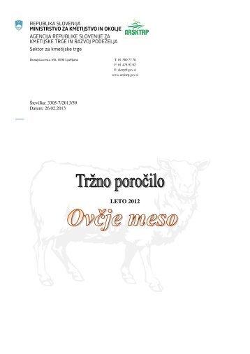 Ovčje meso 2012 - Agencija RS za kmetijske trge in razvoj podeželja
