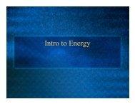 Intro to energy