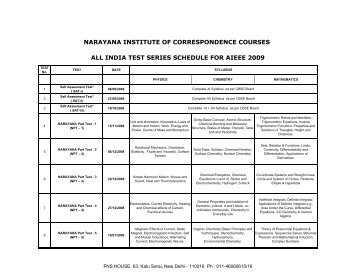 Narayana All India Test Series for AIEEE 2009 - Schedule & Syllabus