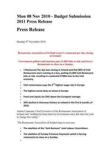Press Release - The Irish Times