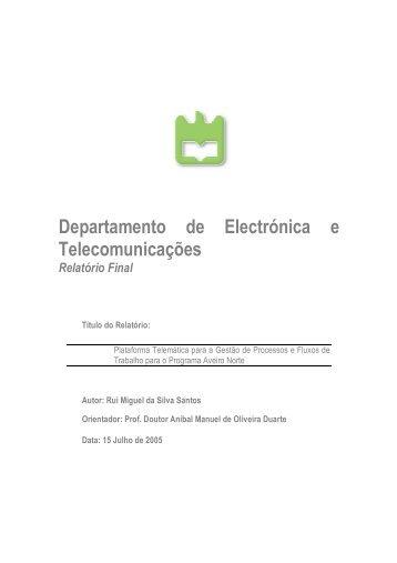 Departamento de Electrónica e Telecomunicações Relatório ... - GSBL