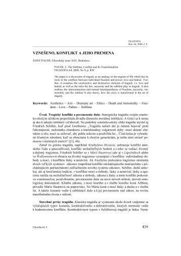 VZNEŠENO, KONFLIKT A JEHO PREMENA - Filozofický ústav SAV