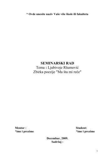 Ljubivoje rsumovic - Seminarski Maturski Diplomski Radovi