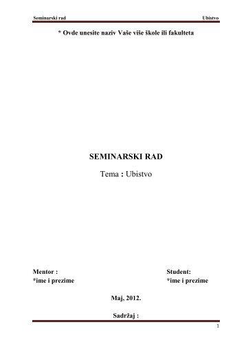 Ubistvo - Seminarski Maturski Diplomski Radovi