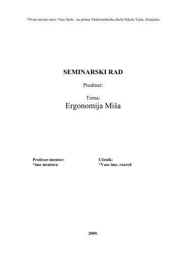 Ergonomija misa - Seminarski Maturski Diplomski Radovi