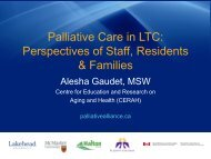 Palliative Care in LTC: Perspectives of Staff, Residents & Families