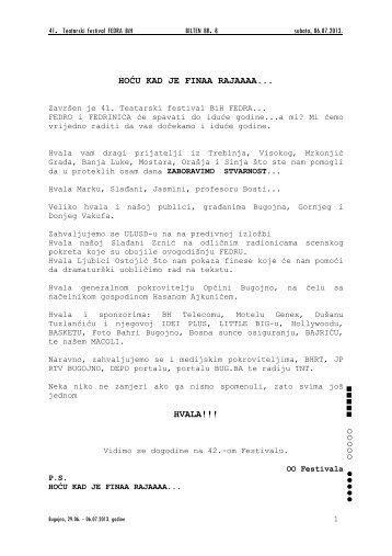 Bilten br.9 u pdf formatu. - KSC Bugojno