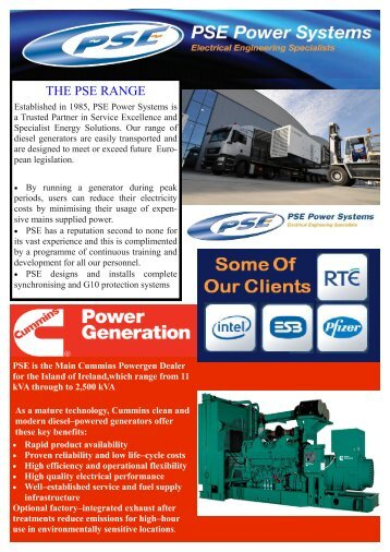 THE PSE RANGE - PSE Power Systems