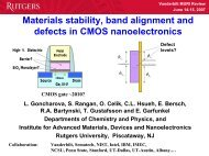 Materials Stability, Band Alignment and Defects in CMOS ...