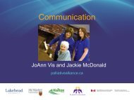Communication - Quality Palliative Care in Long Term Care