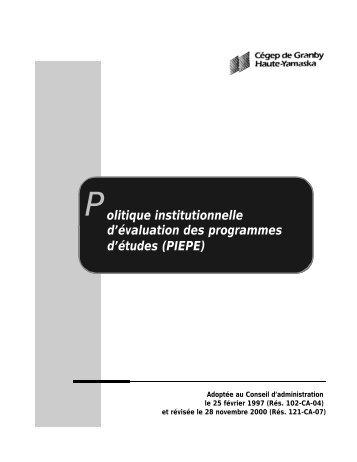 Politique institutionnelle d'évaluation des programmes d'études ...