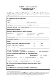 Teilnehmerdatenblatt - Erasmus Studierendenmobilität Praktikum