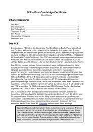 FCE – First Cambridge Certificate