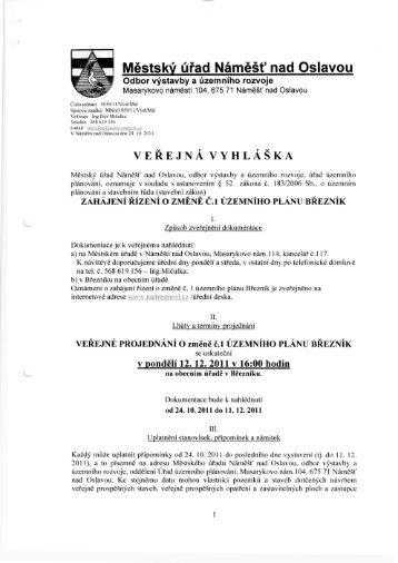 Veřejná vyhláška - Obec Březník